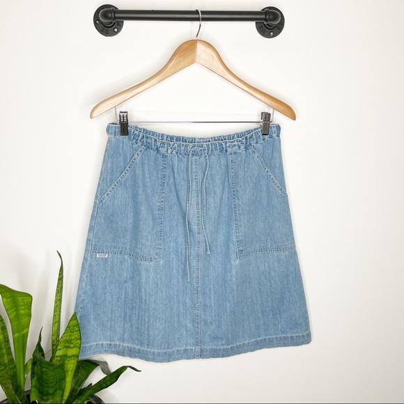 Vintage Blassport drawstring jean skirt Bill Blass